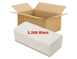 Papierhandtücher 2-lagig, Vorrat 3.200 Blatt, 23x25 cm, Zick/Zack, hochweiß