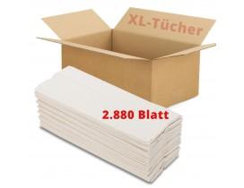 XL Papierhandtücher 2-lagig, Vorrat 2.880 Stück, 23x33 cm, Lagenfalzung, hochweiß